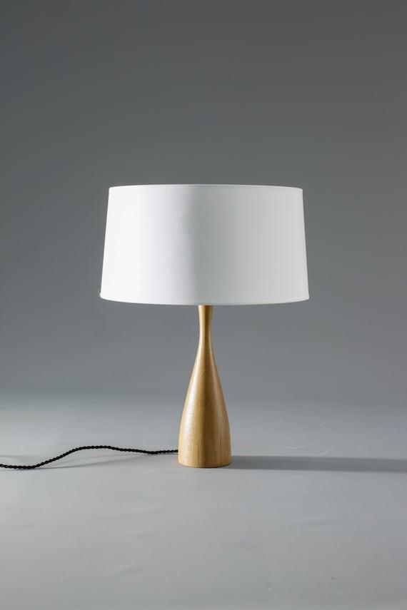 Modern Wood Table Lamp with Shade Scandinavian Design