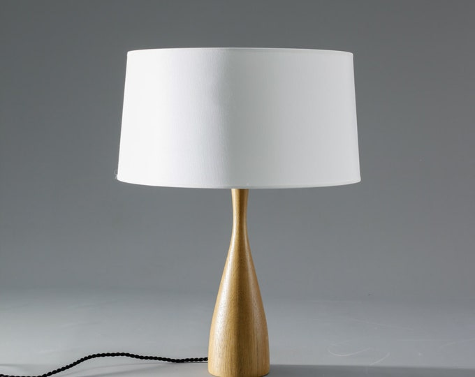 Modern Wood Table Lamp with Shade Scandinavian Design