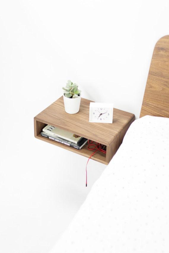 Walnut floating nightstand bedside table, style mid century modern