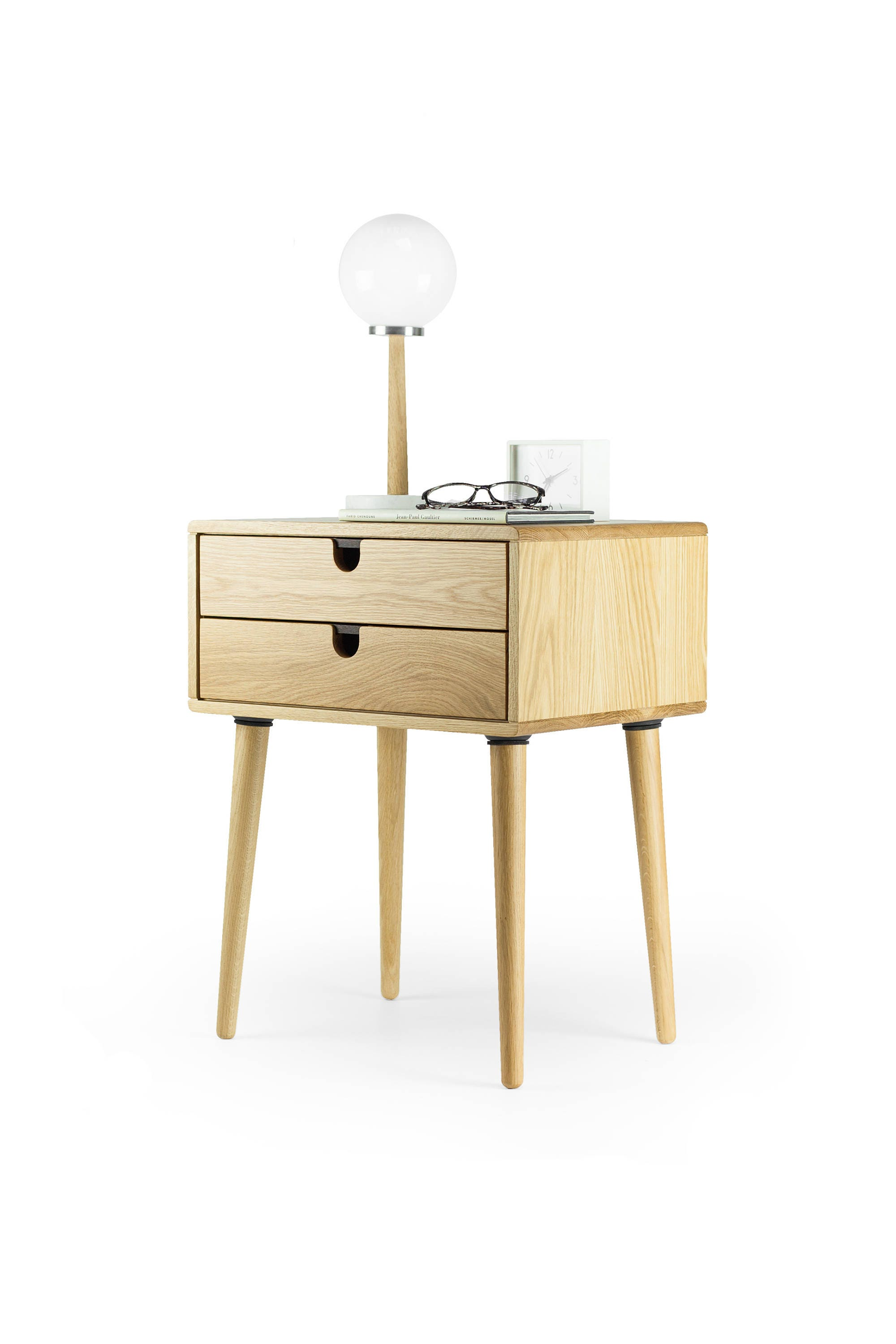 Mid Century Modern Solid Oak Nightstand With Double Drawers