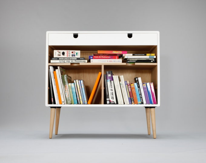Modern White Bookcase Credenza with Drawer
