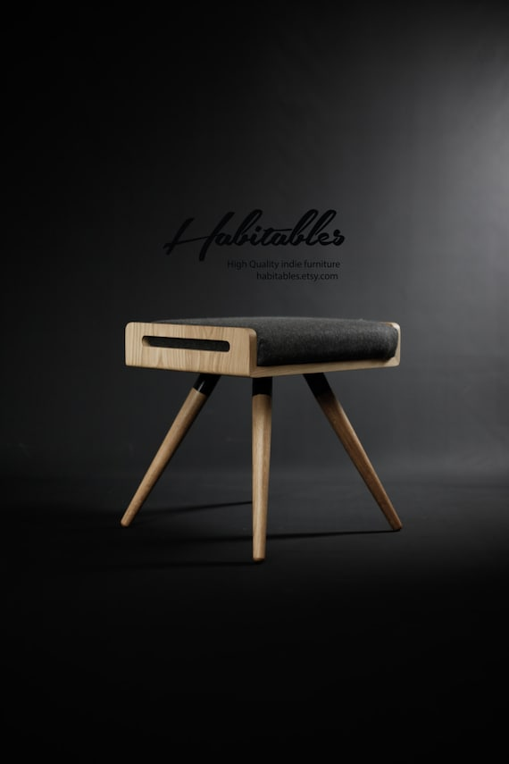 Stool / Seat / Ottoman / bench in solid oak board and oak legs