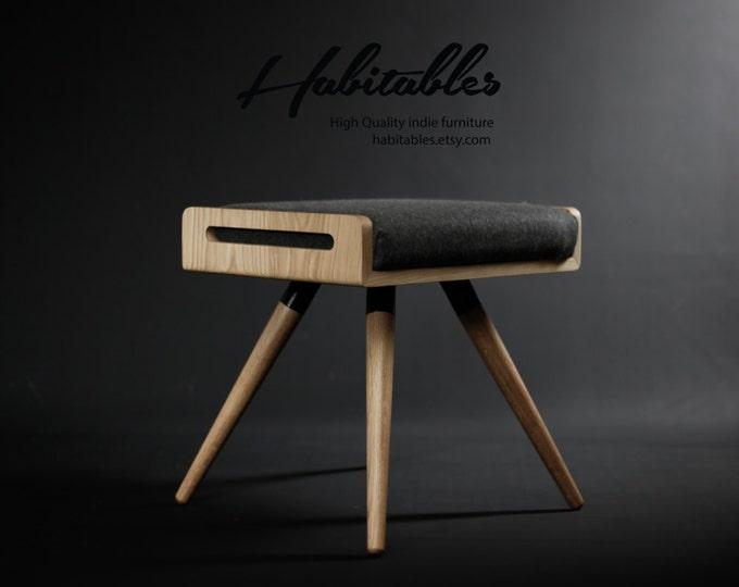 Stool / Seat / Ottoman / bench in solid oak board and oak legs