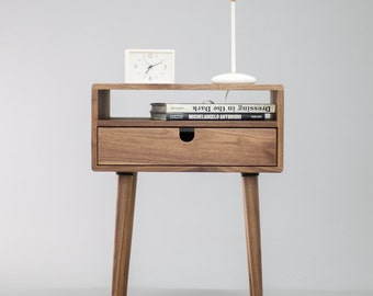 Mid Century Nightstand bedside table with Drawer in solid Walnut wood