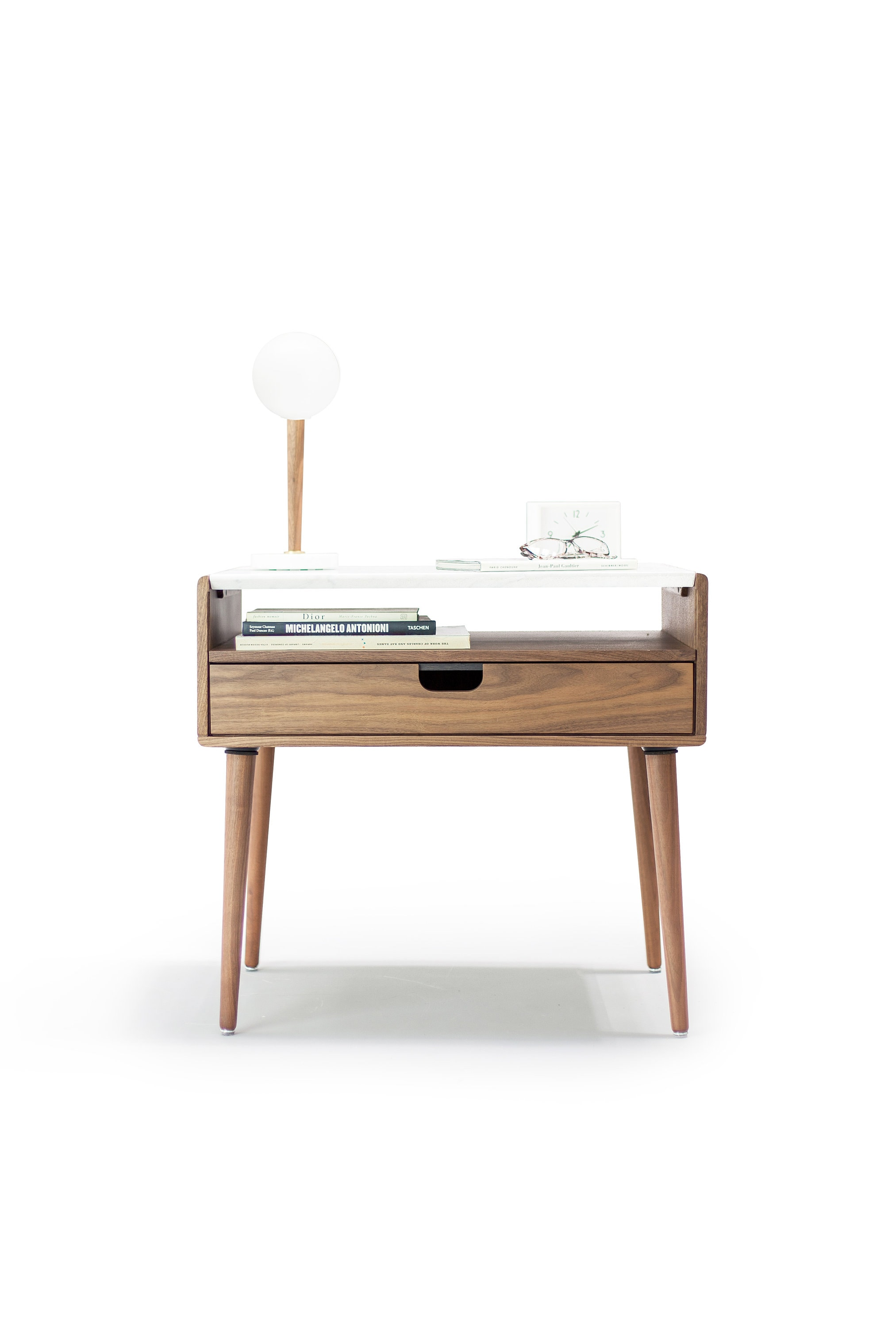 Nightstand Bedside Table In Solid Walnut Oak With Marble