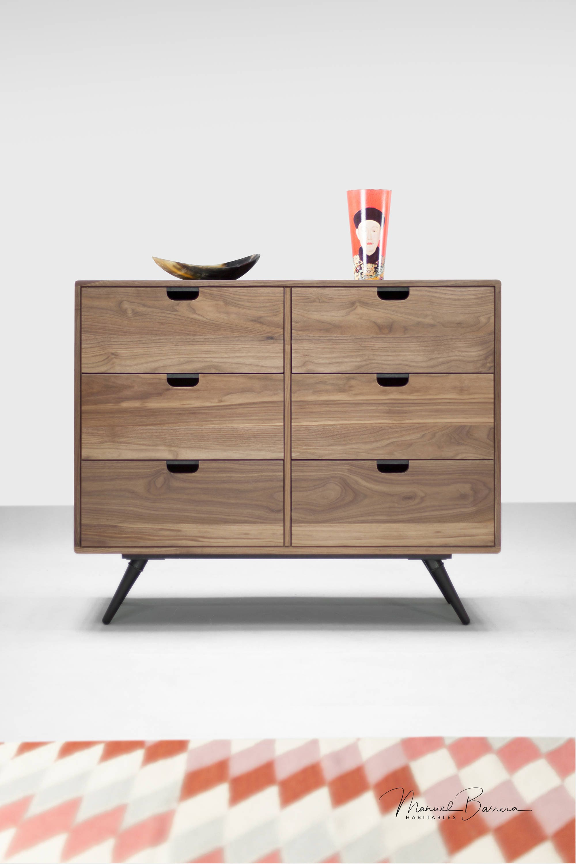 Walnut Dresser Commode Credenza In Oak Walnut Solid Board Style