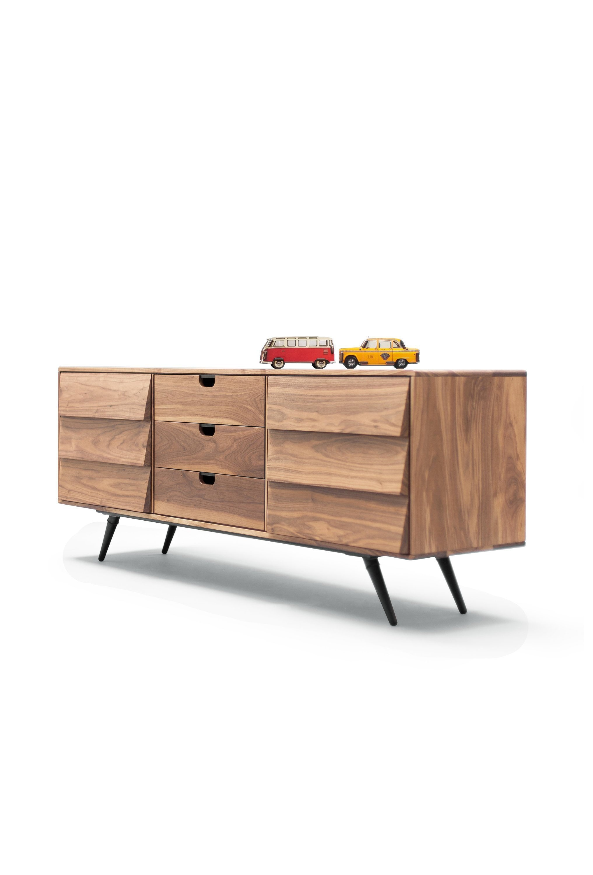 Sideboard Cupboard Credenza In Solid Board Oak Walnut Mid