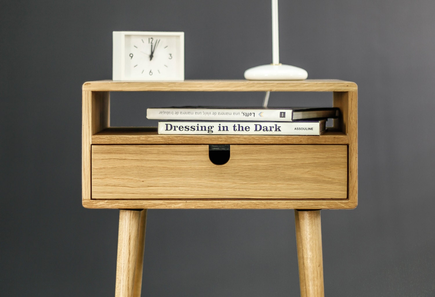 Picture of: Mid Century Bedside Table Nightstand In Solid American Oak With A Drawer And A Shelf