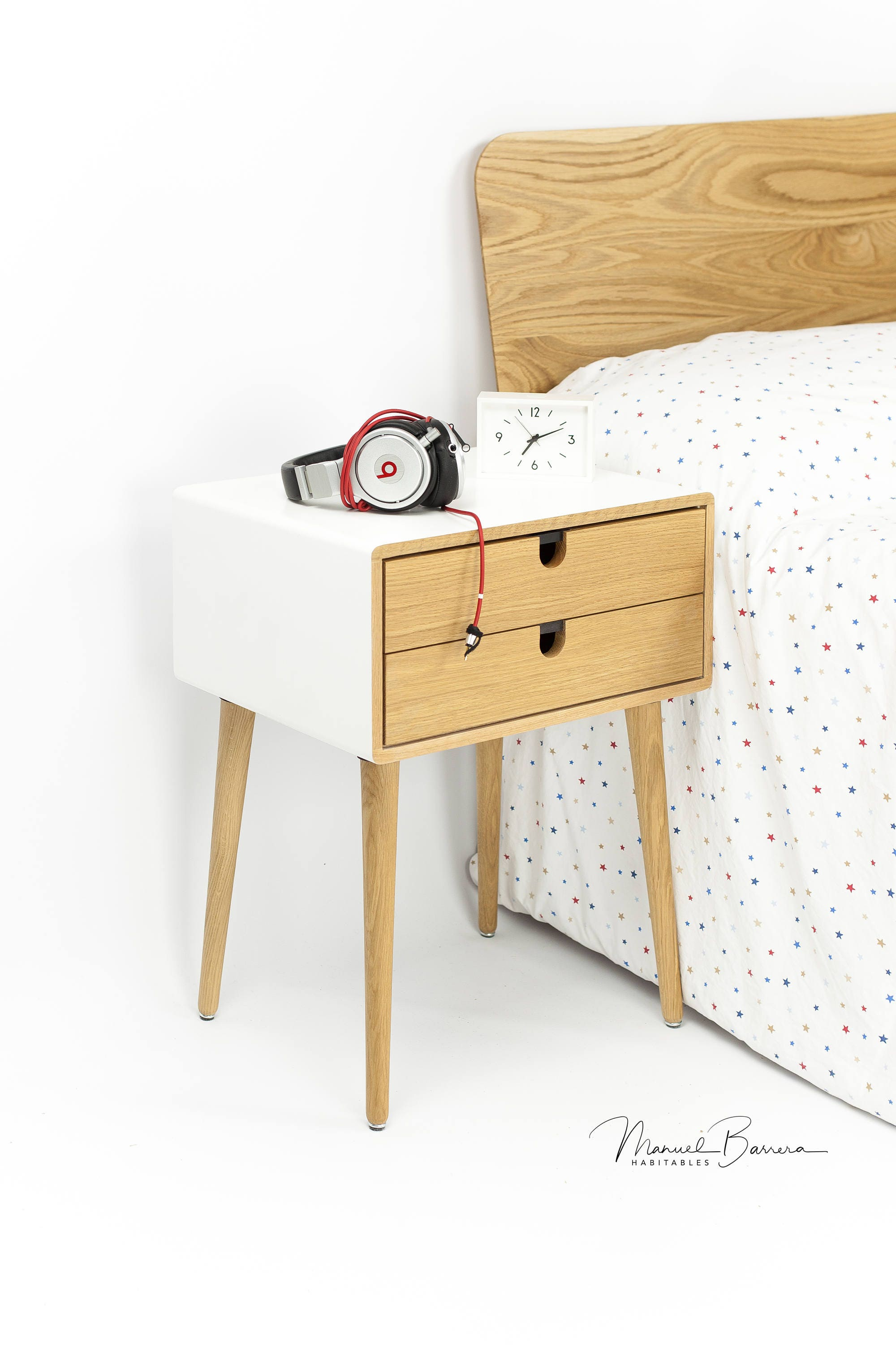 White Nightstand Bedside Table Scandinavian Mid Century Modern Retro Style With 1 Or 2 Drawers And Legs Made Of Oak Wood