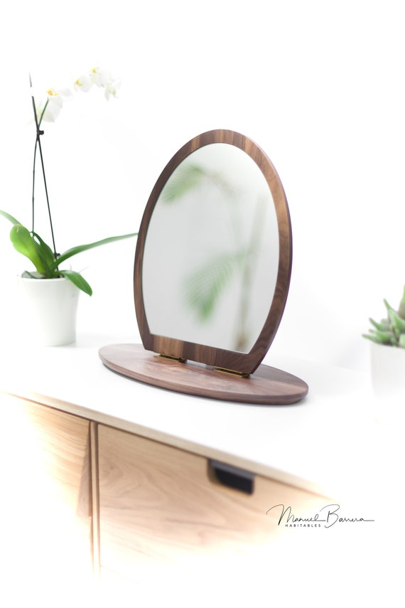 Brown Walnut Oak Small Mirror, Vanity Mirror, Leaning Mirror, Modern Mirror, Table Mirror