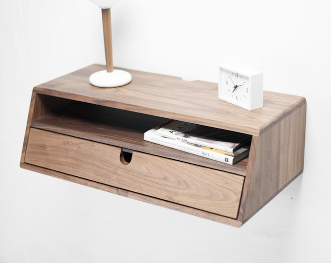 Hallway table entryway floating console in solid walnut / oak wood