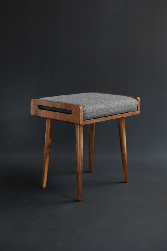 Cool Stool Seat Ottoman Bench In Solid Walnut Board Theyellowbook Wood Chair Design Ideas Theyellowbookinfo