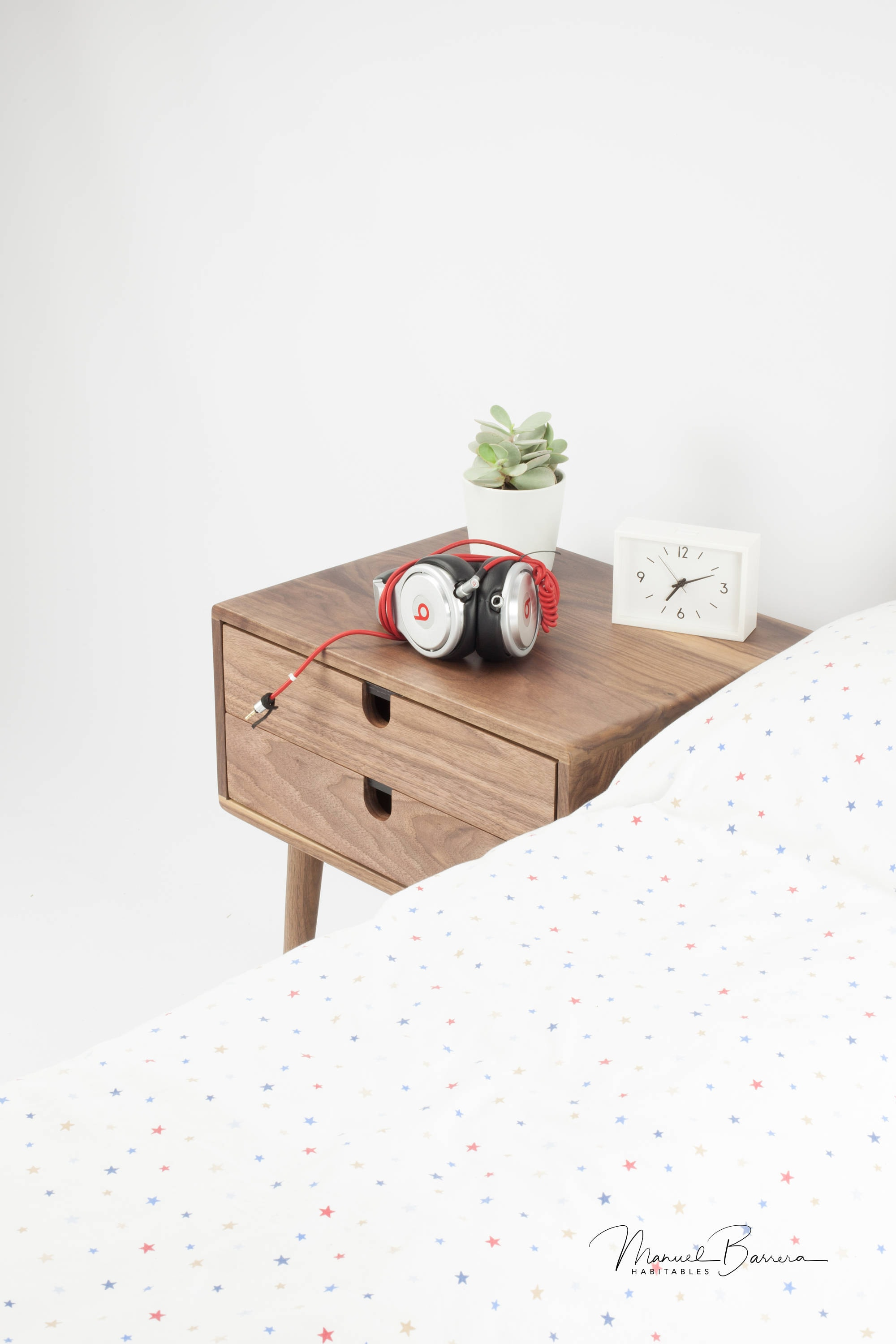 Mid Century Modern Solid Walnut Nightstand With Double Drawers