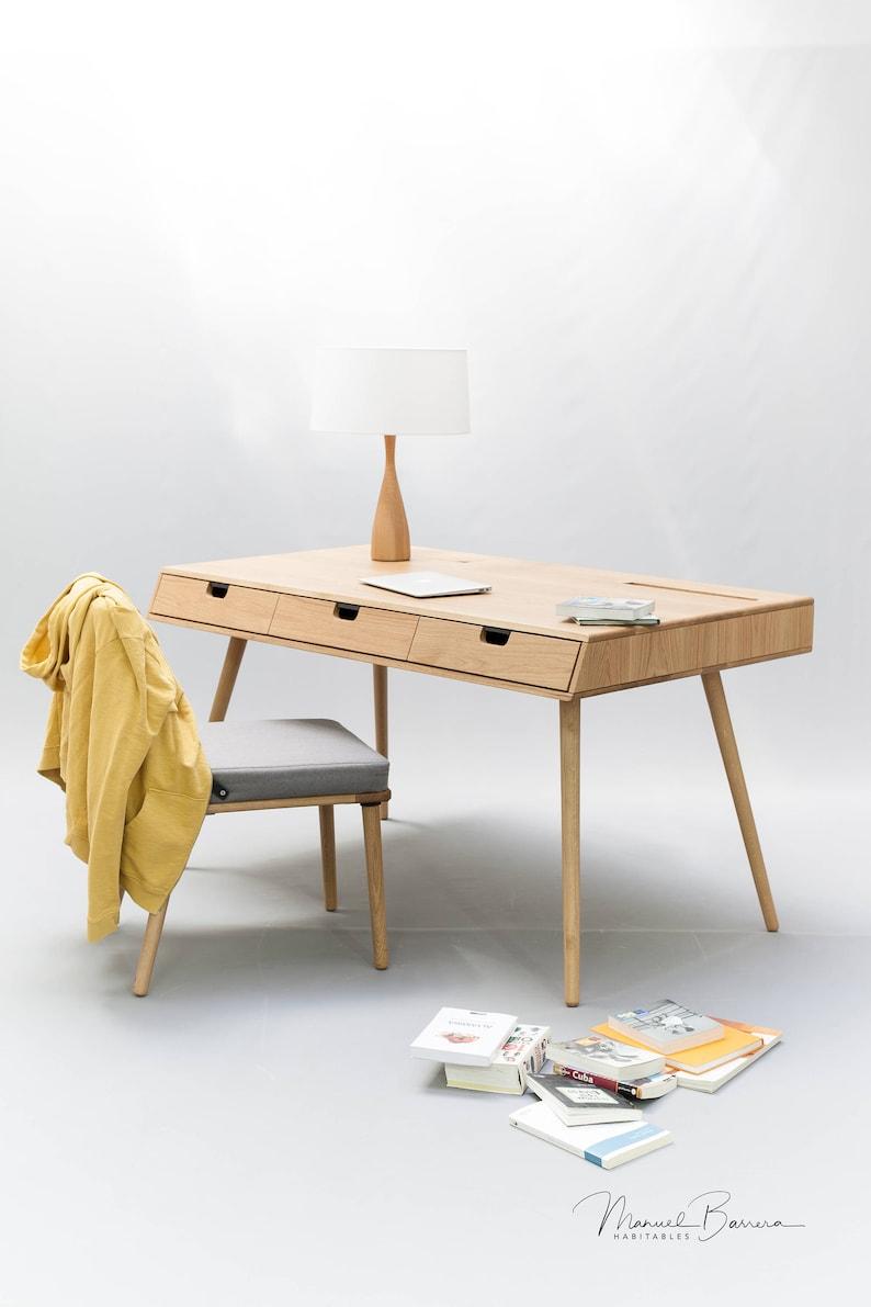 Desk in oak wood  Mid Century Modern Tantik image 0