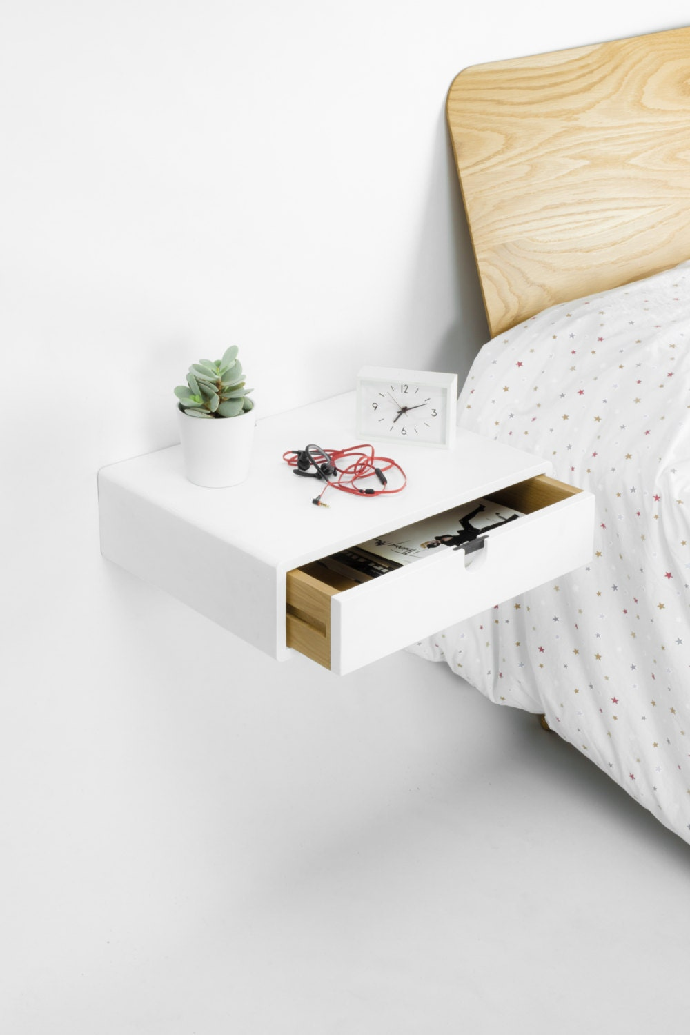 Floating White Nightstand Bedside Table Drawer