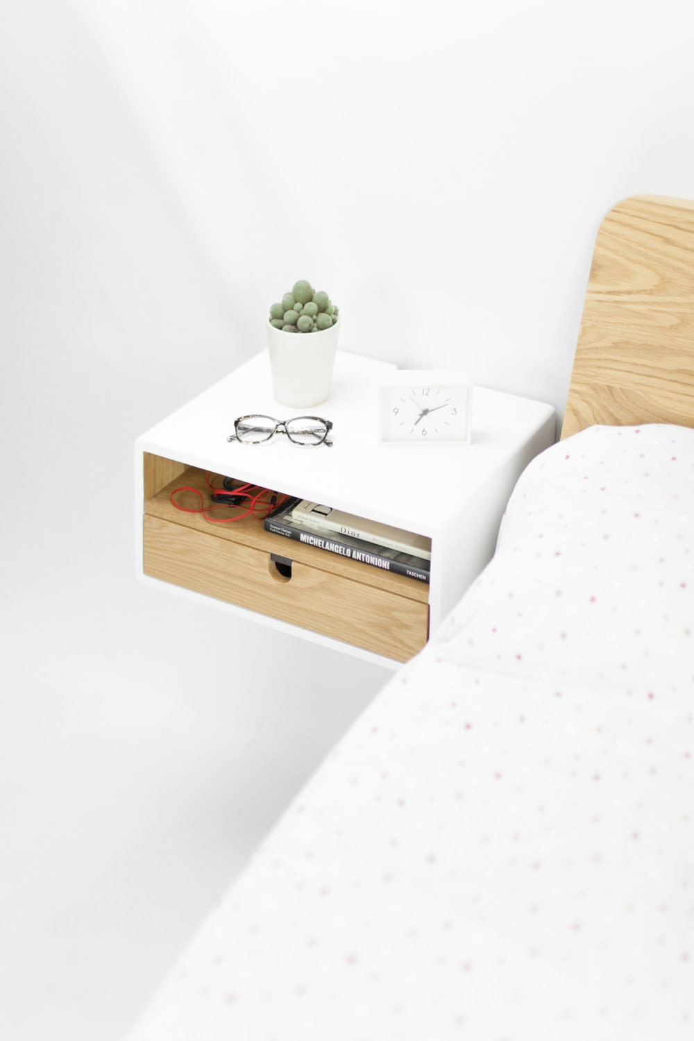 White Floating Nightstand Bedside Table Drawer In Oak Mid Century Modern