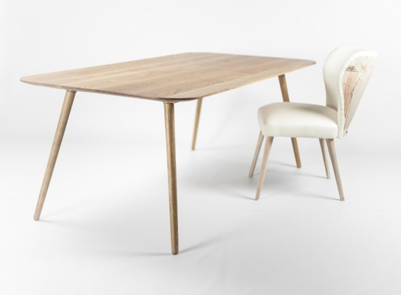 Dining Table In Solid Oak Modern Mid Century Scandinavian Etsy