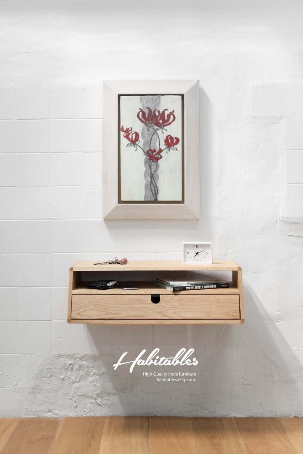 Walnut Oak Wood Floating Console Hallway Table Entryway