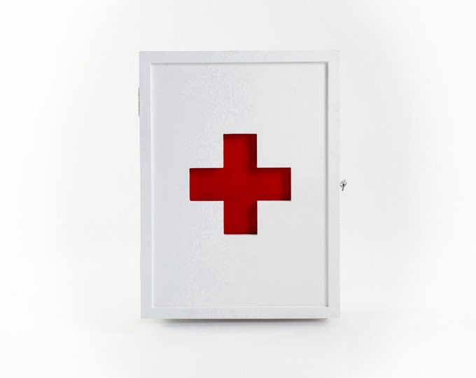 Medicine cabinet, aid kit , wall closet, rustic,  vintage replica, red cross version, made in plywood