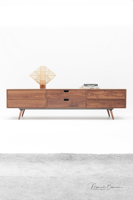 Walnut Mid Century Sideboard Cupboard Credenza In Solid