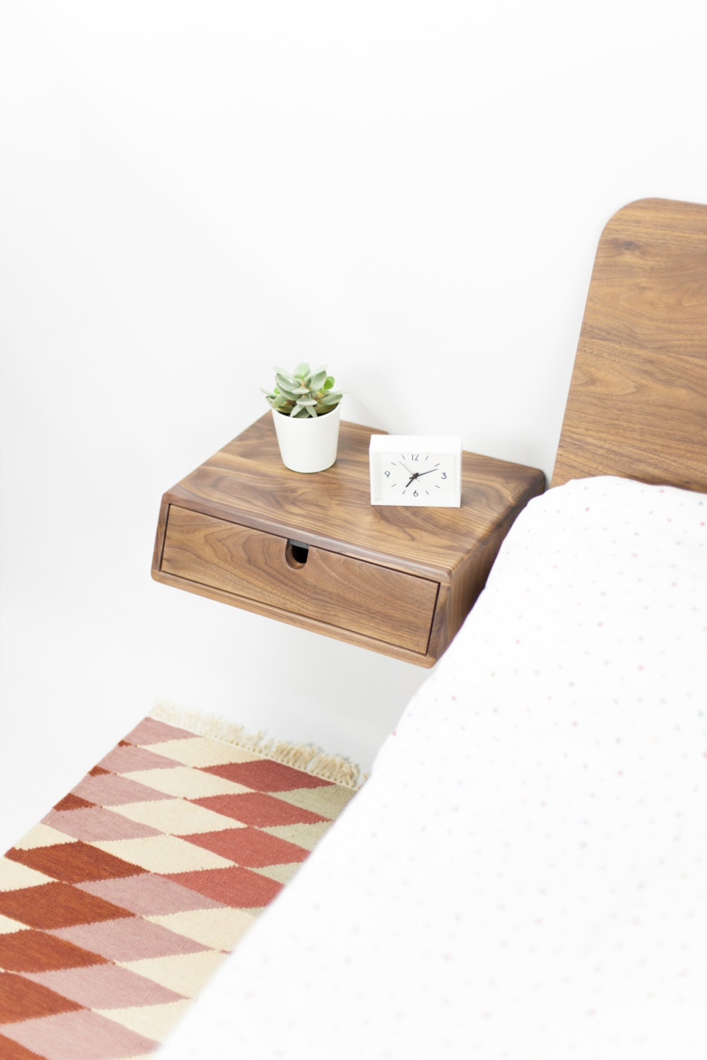 Nightstand Table: Floating Nightstand Bedside Table 1 Drawer In Solid Walnut