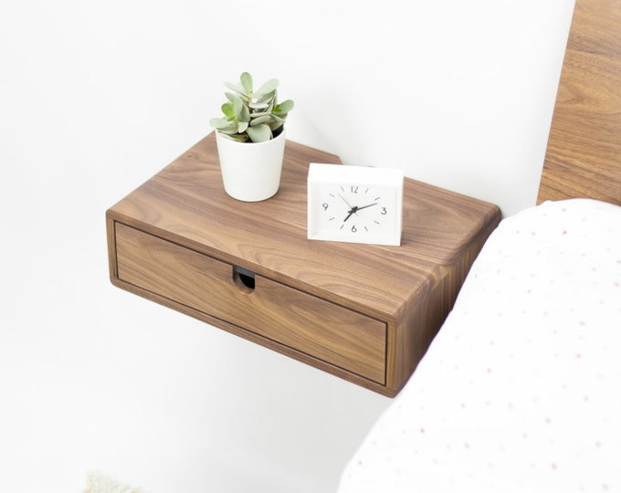 Floating nightstand bedside table drawer  in solid walnut mid century modern