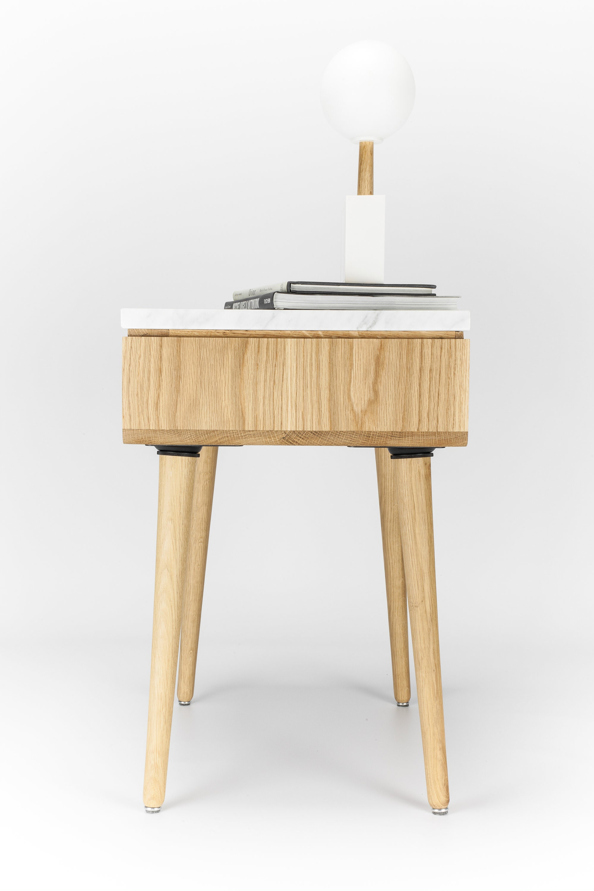 Nightstand With One Drawer In Solid Walnut Oak Board And