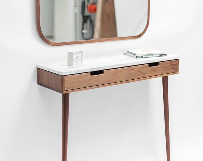 Console Hallway table in solid wood and marble top, Floating or with 2 legs