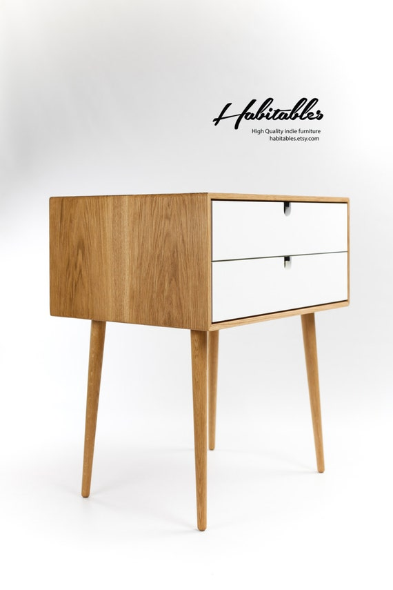 la salle et table en Table Chevet tiroirs laqués de les faites console chêneet en commode Mid les blanc Century jambes de Cadre OknwP0