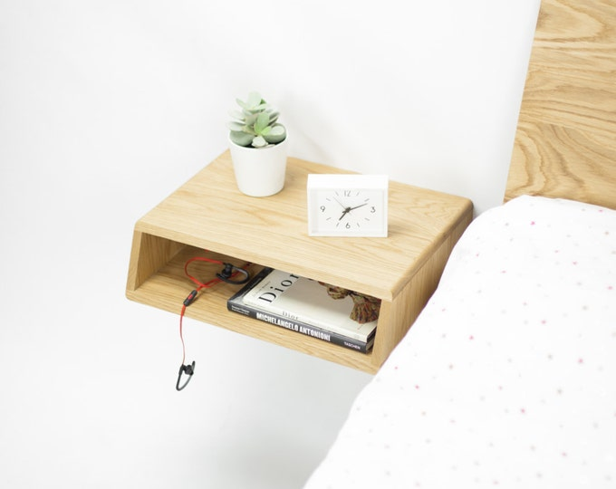 Floating wood nightstand / Bedside Table / Drawer,  Scandinavian Mid-Century Modern Retro
