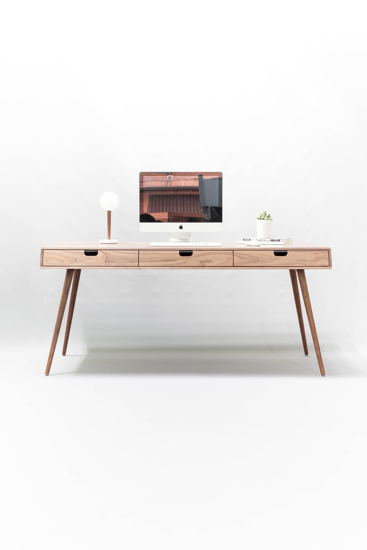 Desk In Walnut Oak Wood Bureau Dressing Table Office Desk Mid