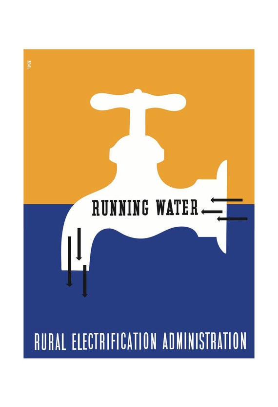 Running Water Lester Beall Rural Electrification Etsy