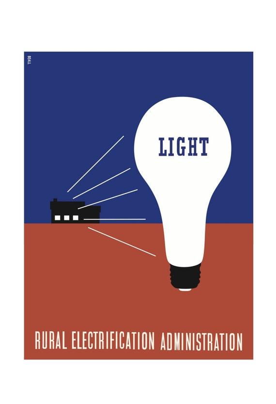 Luz Lester Beall Electrificación Rural administración cartel | Etsy