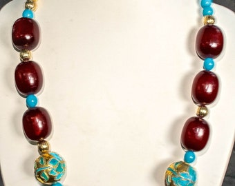 "Vintage '80's Oxblood Beads with Chinese ""Gold"" Vintage Beads"