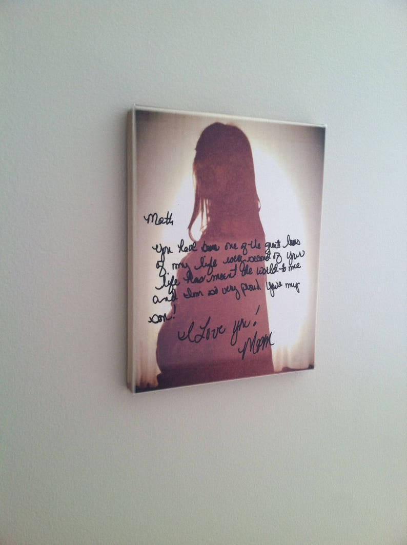 HANDWRITING as ART - Wall Canvas, Memorial (Proud You're My Son), message  to baby, custom artwork made with your photo & handwriting