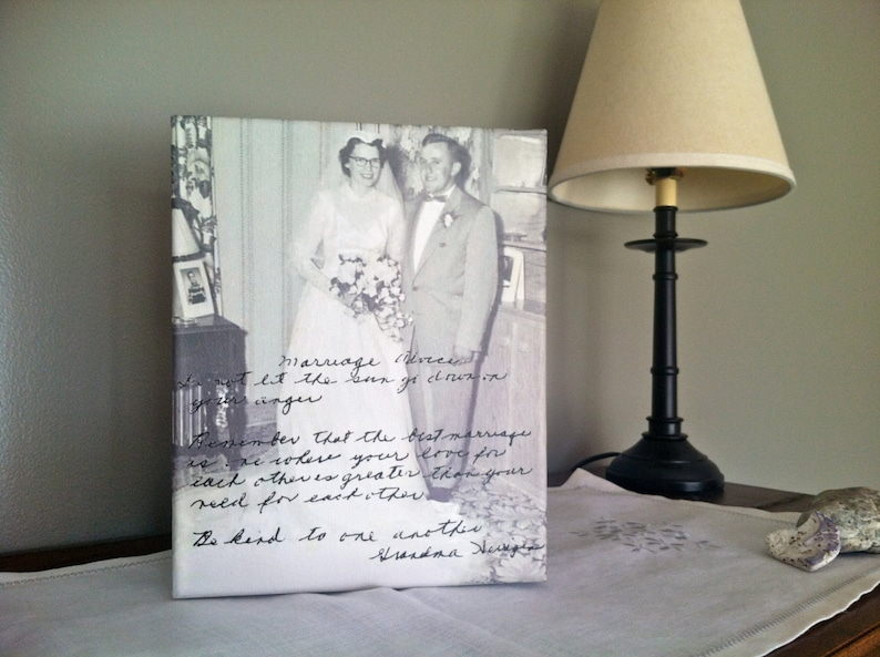 MARRIAGE ADVICE Handwriting on Wall Canvas Grandmother image 0