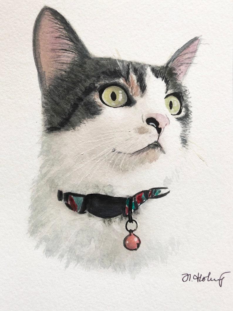 Cat portrait Custom cat portrait Watercolor