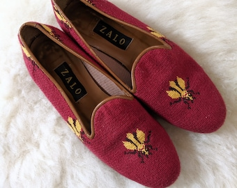 a9dd9c8cd2b0 Vtg. ZALO Bumblebee Shoes in Red, Size 8.5M // Women's Woven Needlepoint  Leather Soled Shoes // Made in Spain // Excellent Vintage Condition