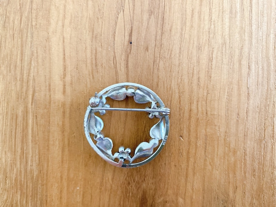 Antique sterling silver ornate flower with pearl … - image 2
