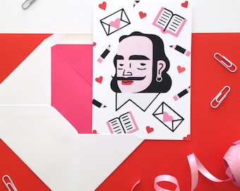 Shakespeare greetings card / Hand-painted design / Illustration