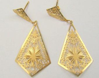 Filgree 14K Yellow Gold Dangle Earrings