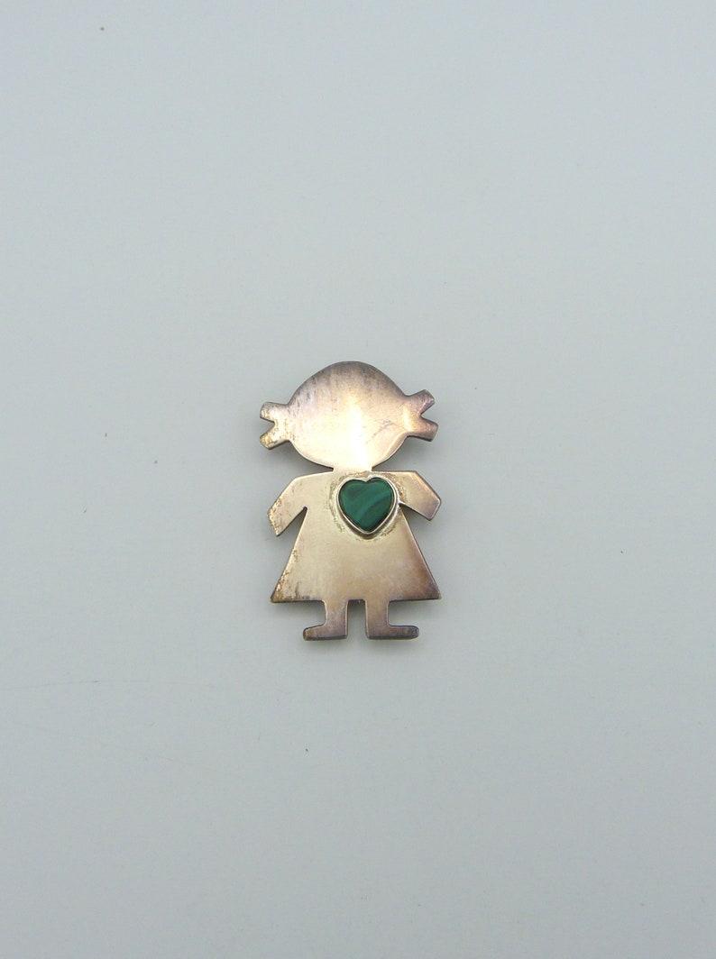 Dellapina Peru 925 Sterling Silver Figural Brooch with Malachite Heart Inlay  Pendant Option 20/% OFF SALE