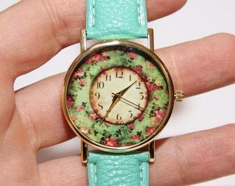 Damen Uhren, Uhren mit Blumen, Vintage-Uhren, elegante Uhren, Hochzeit-Uhren, Uhren mit Rosen, Türkis Watch, Leder Uhren