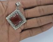 Carnelian Pendant,Solid 925 Sterling Silver Pendant,Vintage Pendant,Red Stone Genuine Gemstone Birthstone Pendant Necklace Celtic SALE AAA