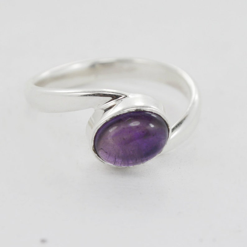 Natural Purple Amethyst Gemstone Solid Ring 925 silver jewelry size us 7