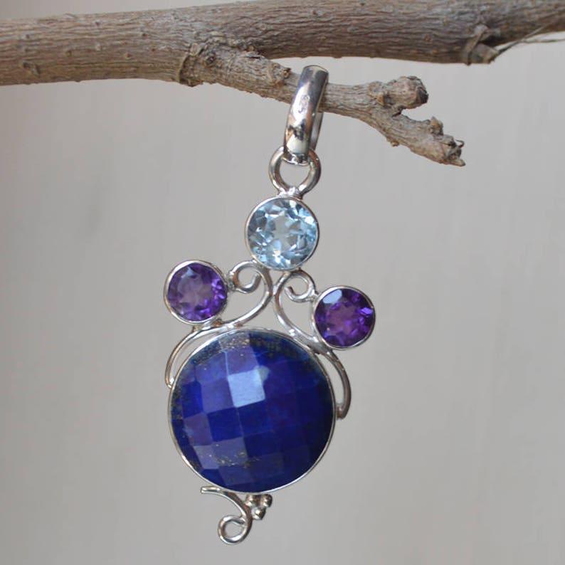 Lapis Lazuli /& Mixed Gemstone Wholesale Lot 925 Sterling Silver Plated Pendant