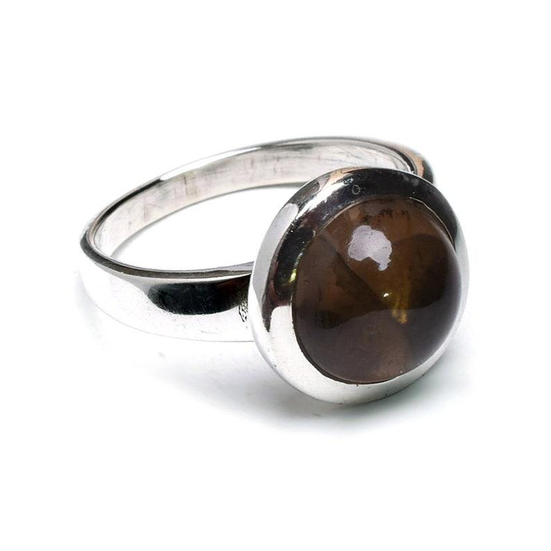Smoky Quartz 925 Sterling Silver Ring,Smoky Quartz Ring,silver ring,stone Ring,Cabochon Smokey Quartz Jewelry Gift Ring Size US 5 6 7 8 9 10