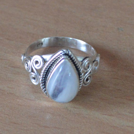 Select size 925 STERLING SILVER MOONSTONE BLUE TOPAZ LEAF BYPASS WRAP RING