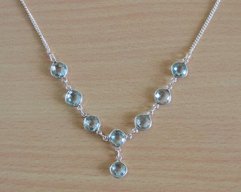 Blue Topaz Necklace,Gemstone necklace,Bib Necklace 925 Sterling Silver Blue Topaz Necklace Gemstone Necklace December birthstone Jewelry