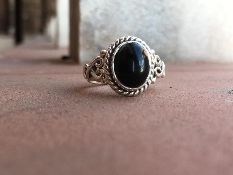 Natural Black Onyx Ring-925 Sterling Silver Ring-Handmade Silver Stone Classy Ring-Birthday Gift For Her christmas gift ring-Promise Rings